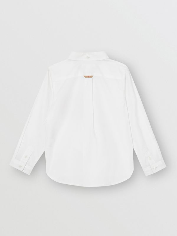 Check Detail Cotton Oxford Shirt in White - Boy | Burberry - cell image 3