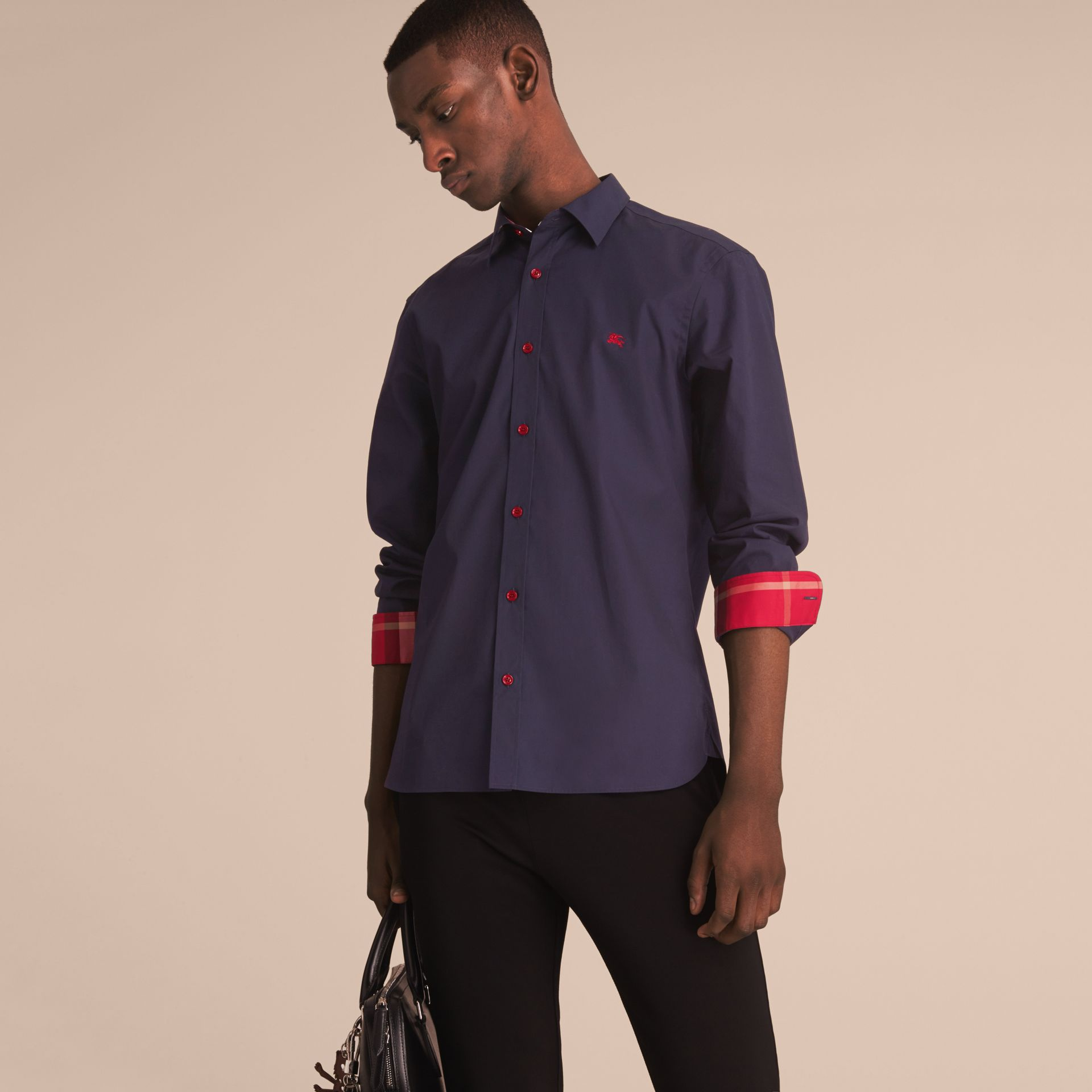 Resin Button Cotton Poplin Shirt in Navy - Men | Burberry - gallery image 7