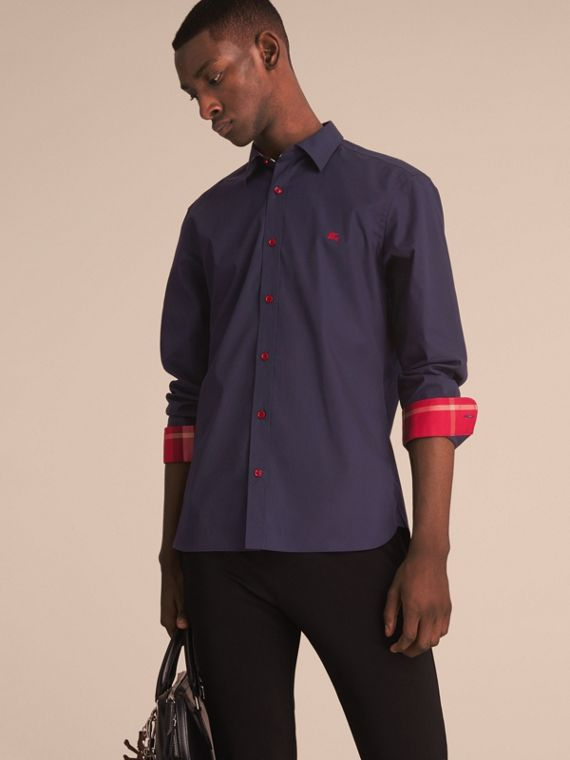 Resin Button Cotton Poplin Shirt in Navy - Men | Burberry Australia