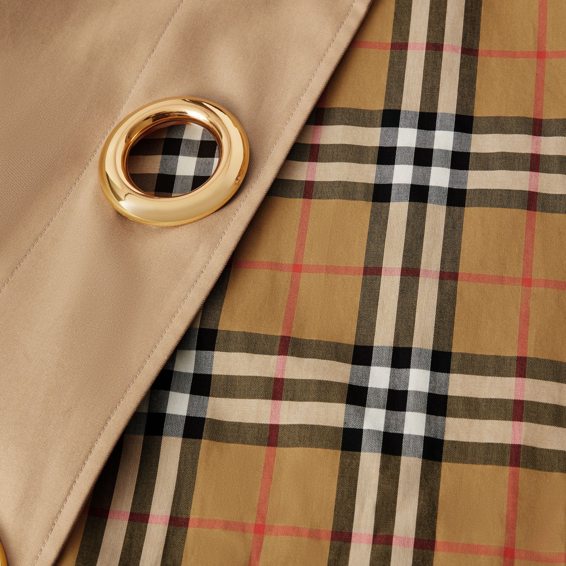 Grommet Detail Cotton Gabardine Car Coat in Honey - Women | Burberry - gallery image 8