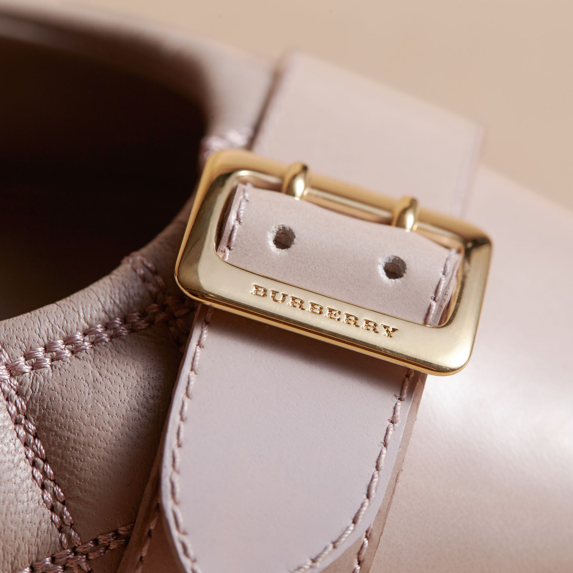Buckle Detail Quilted Lambskin Leather Ballerinas in Ivory Pink - Women | Burberry - gallery image 2