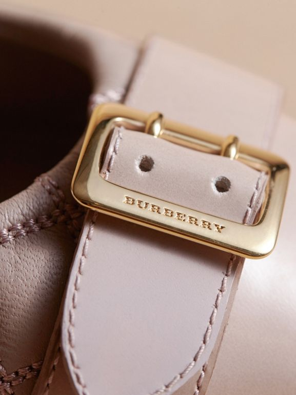 Buckle Detail Quilted Lambskin Leather Ballerinas in Ivory Pink   Burberry United States - cell image 1