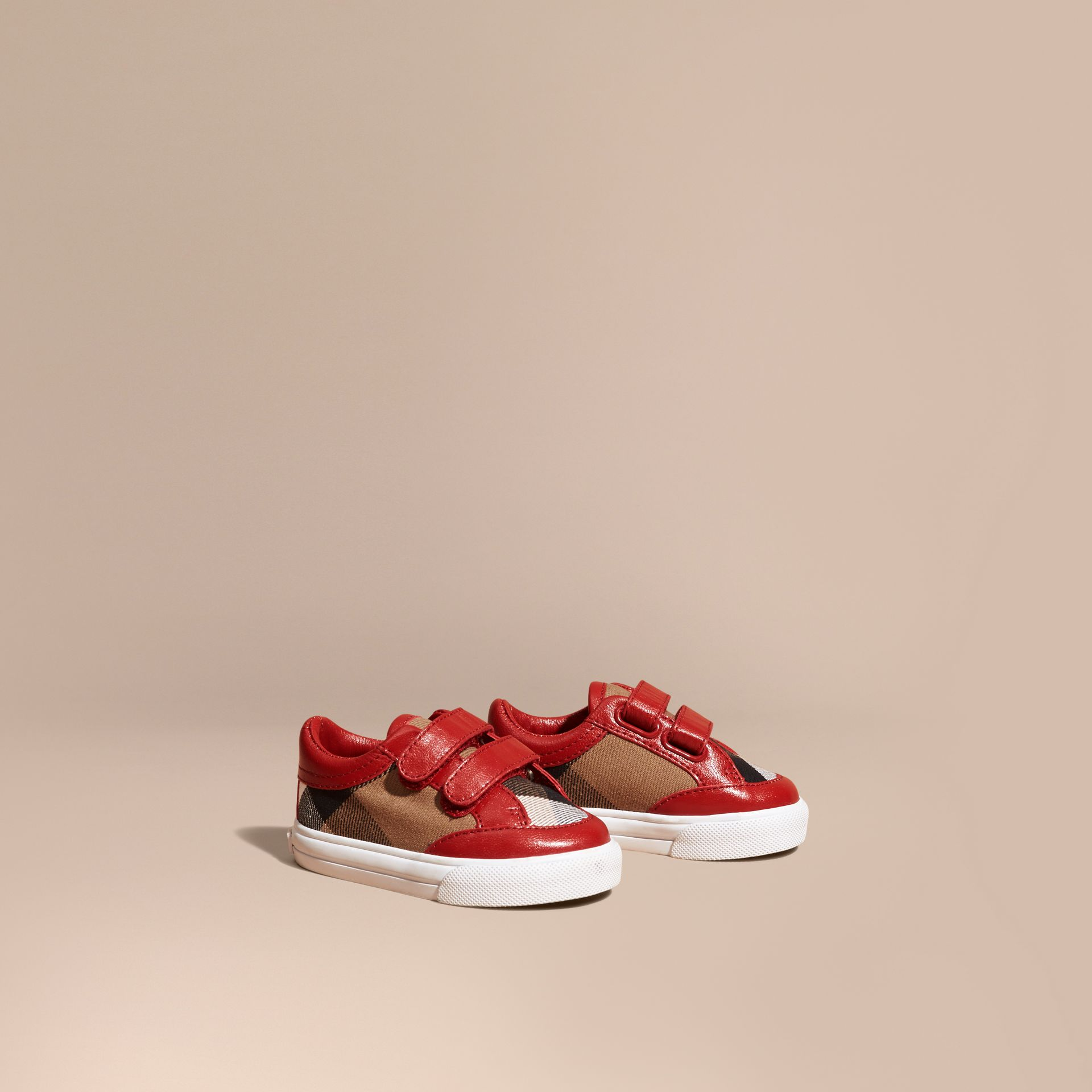 House Check and Leather Trainers in Parade Red | Burberry Singapore - gallery image 1