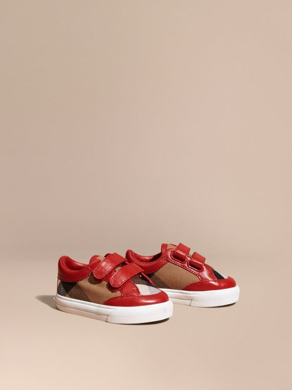 House Check and Leather Trainers in Parade Red