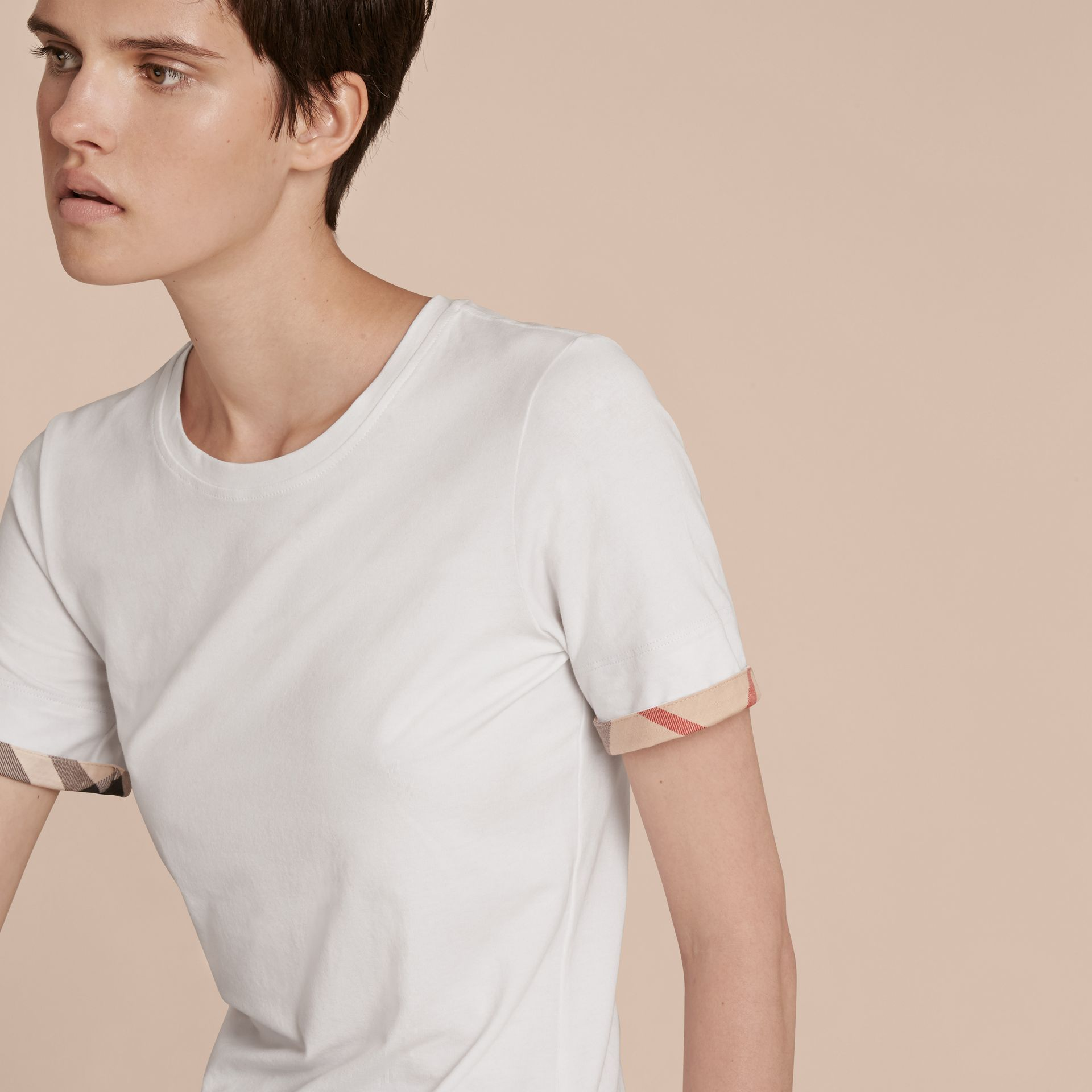 Check Cuff Stretch Cotton T-Shirt in White - Women | Burberry - gallery image 9