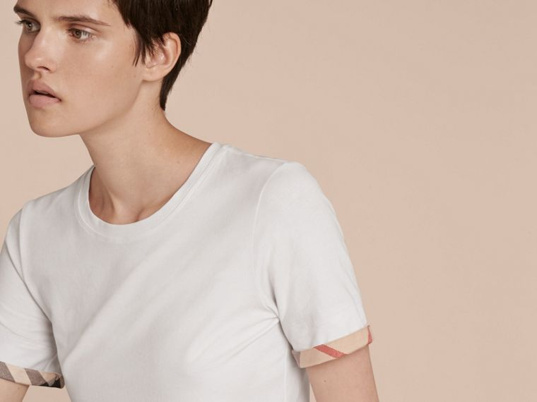 Check Cuff Stretch Cotton T-Shirt in White - Women | Burberry - cell image 4