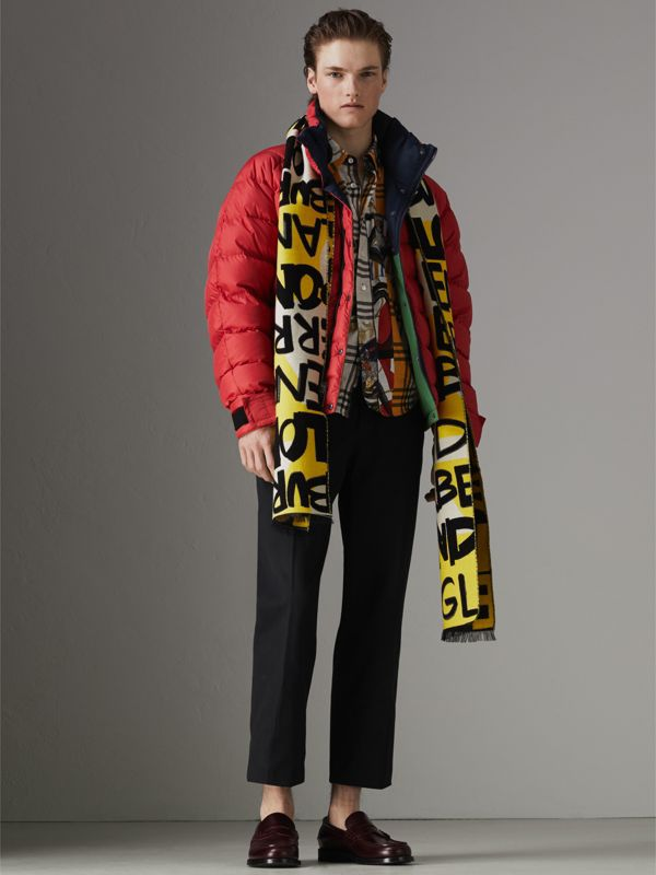 Graffiti Cotton Jacquard Scarf in Bright Yellow | Burberry - cell image 3