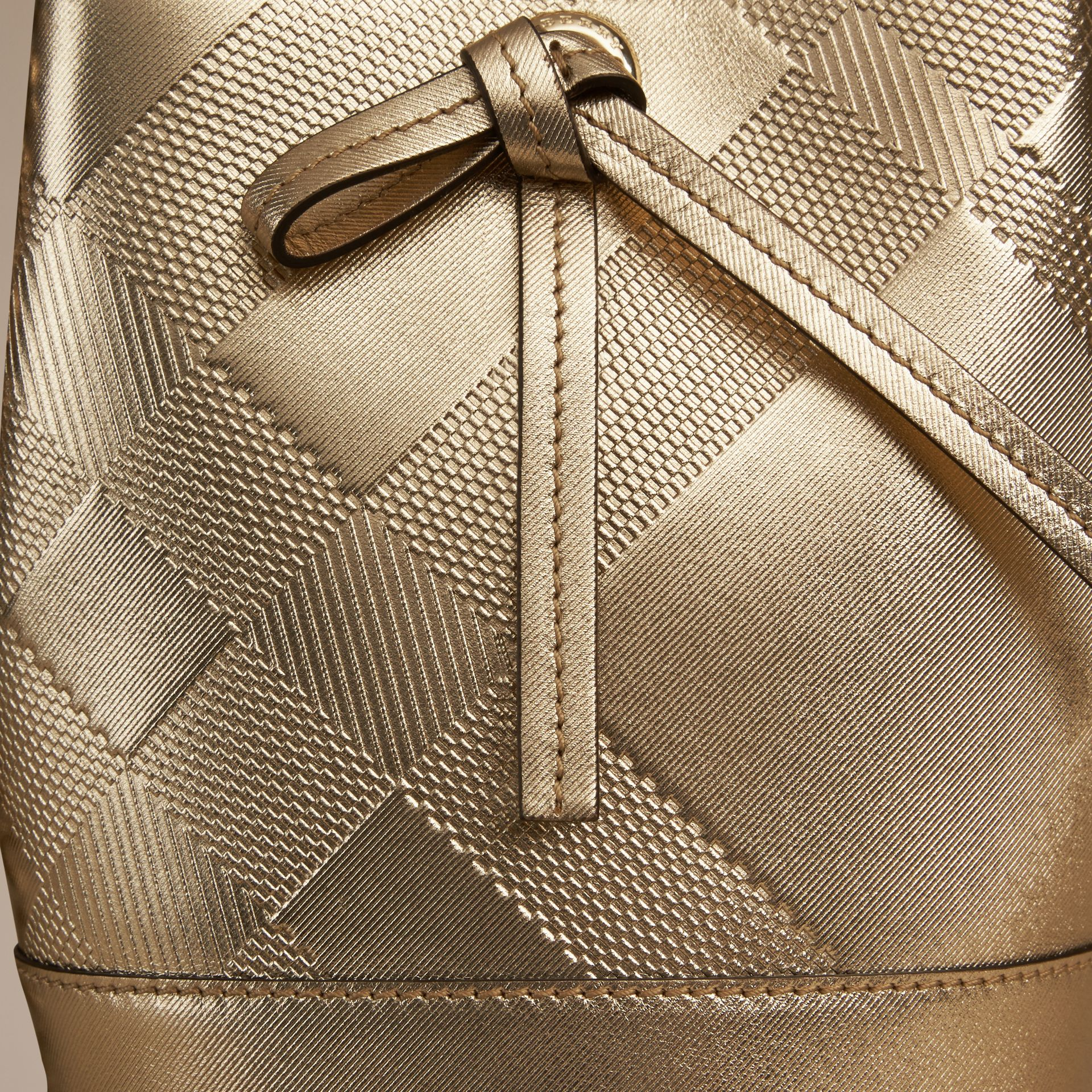 Gold The Baby Bucket in Embossed Check Leather - gallery image 3