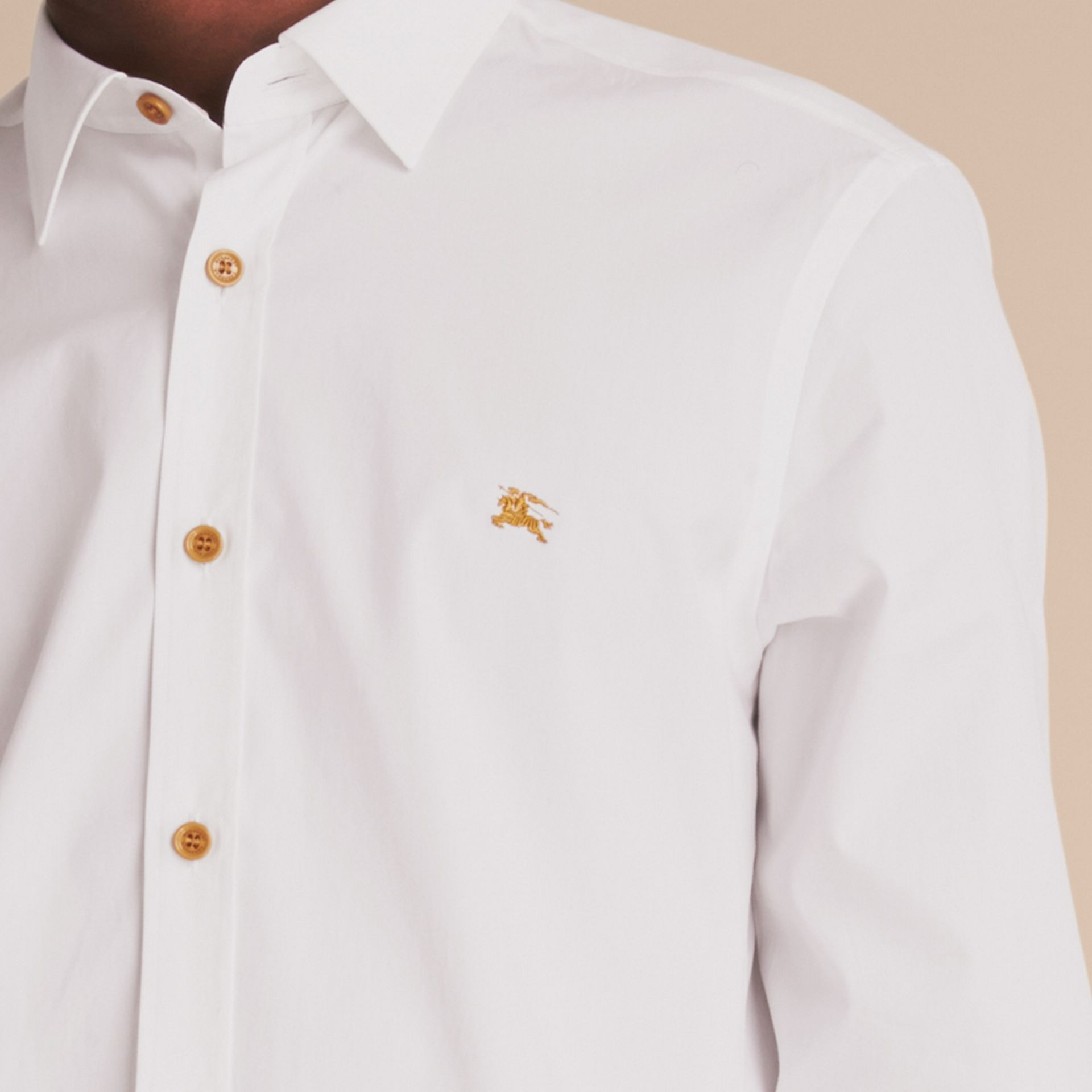 Resin Button Cotton Poplin Shirt in White - Men | Burberry - gallery image 5