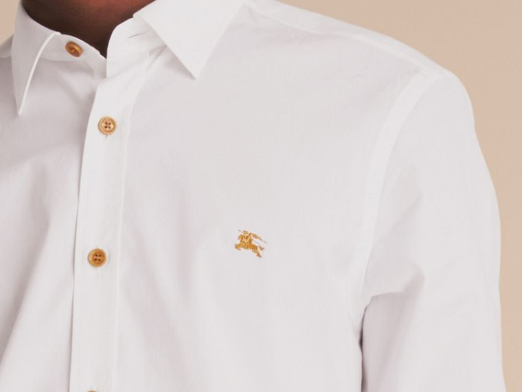 Resin Button Cotton Poplin Shirt in White - Men | Burberry United Kingdom - cell image 4