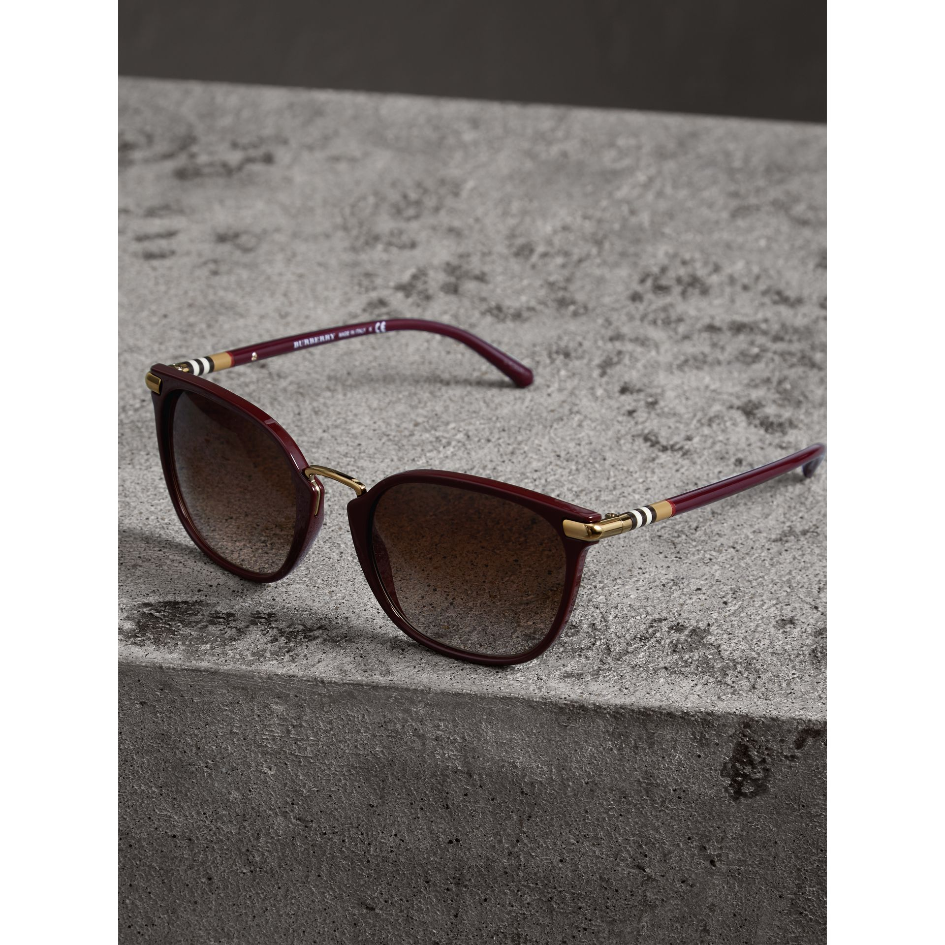 Check Detail Square Frame Sunglasses in Burgundy - Women | Burberry Canada - gallery image 2