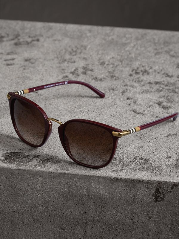 Check Detail Square Frame Sunglasses in Burgundy - Women | Burberry - cell image 2