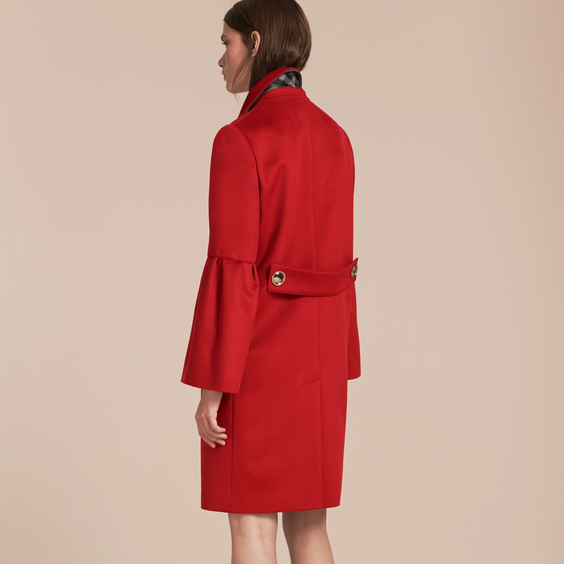 Parade red Tailored Wool Cashmere Coat with Bell Sleeves Parade - gallery image 3