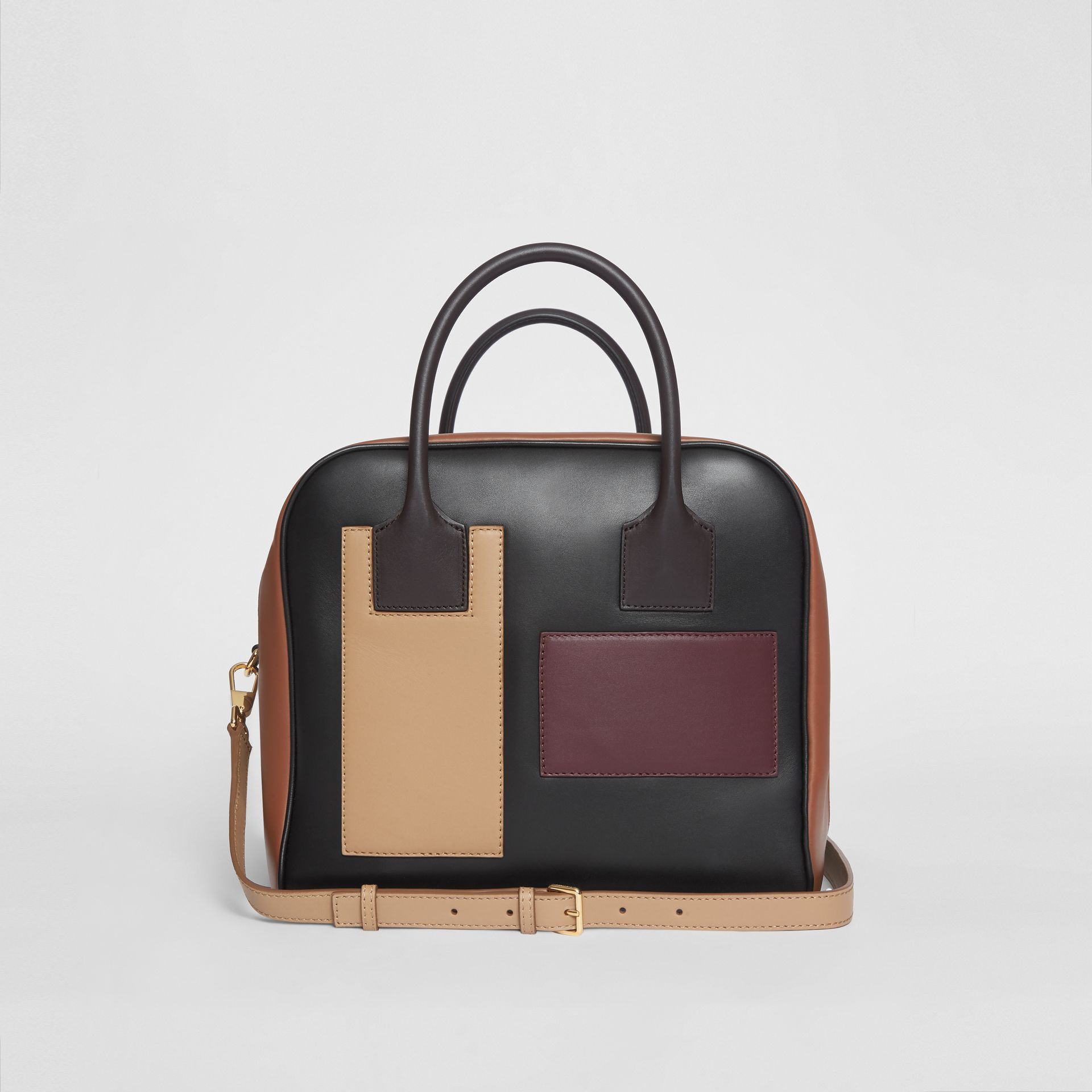 Medium Panelled Leather Cube Bag in Black - Women | Burberry - gallery image 7