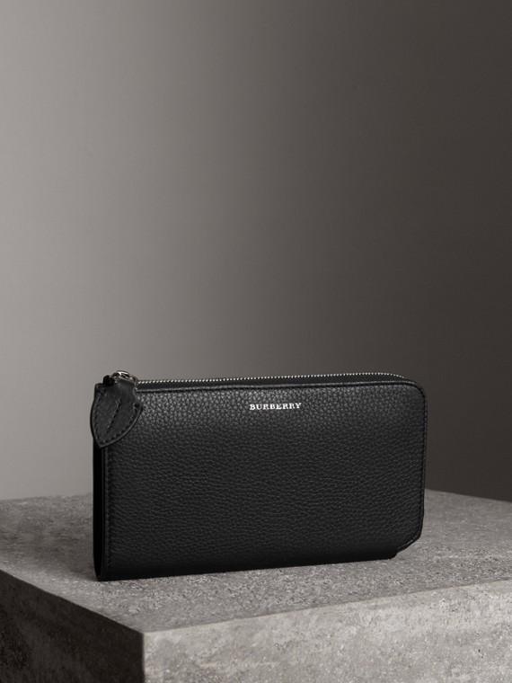 Двухцветный кожаный бумажник со съемным кошельком (Черный)