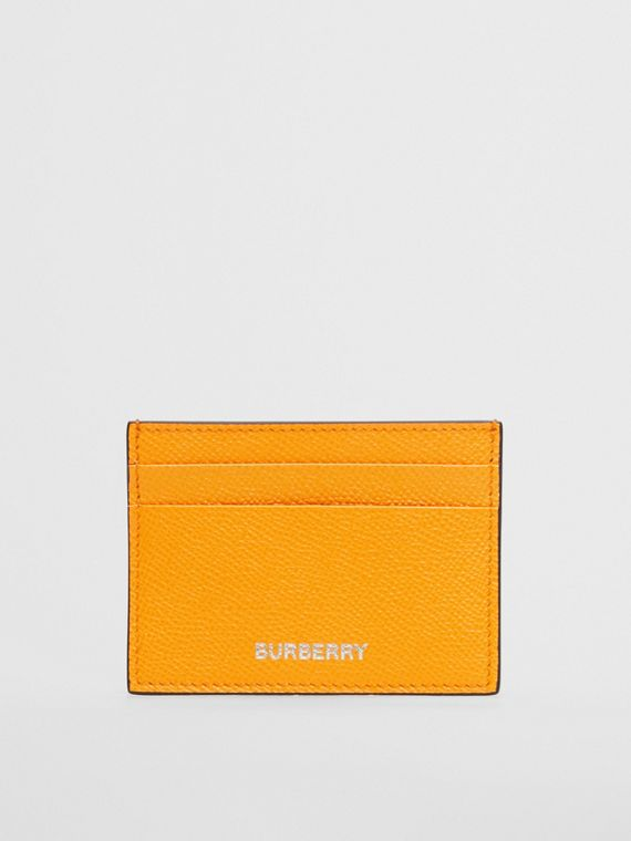Grainy Leather Card Case in Bright Orange