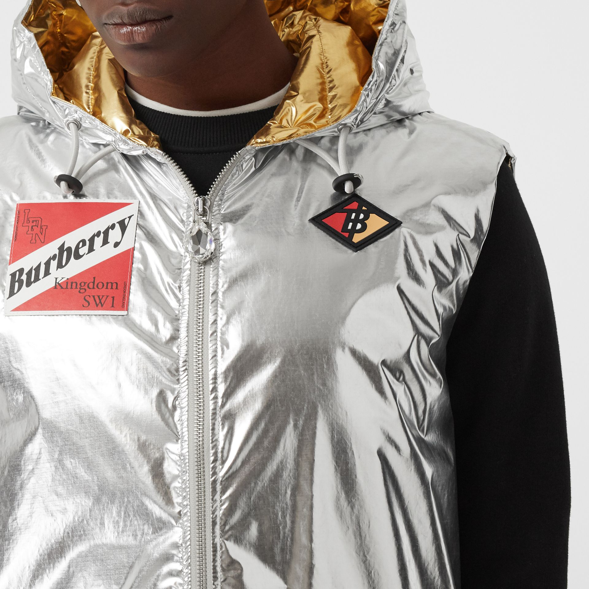 Logo Graphic Metallic Down-filled Gilet in Silver - Women | Burberry - gallery image 1