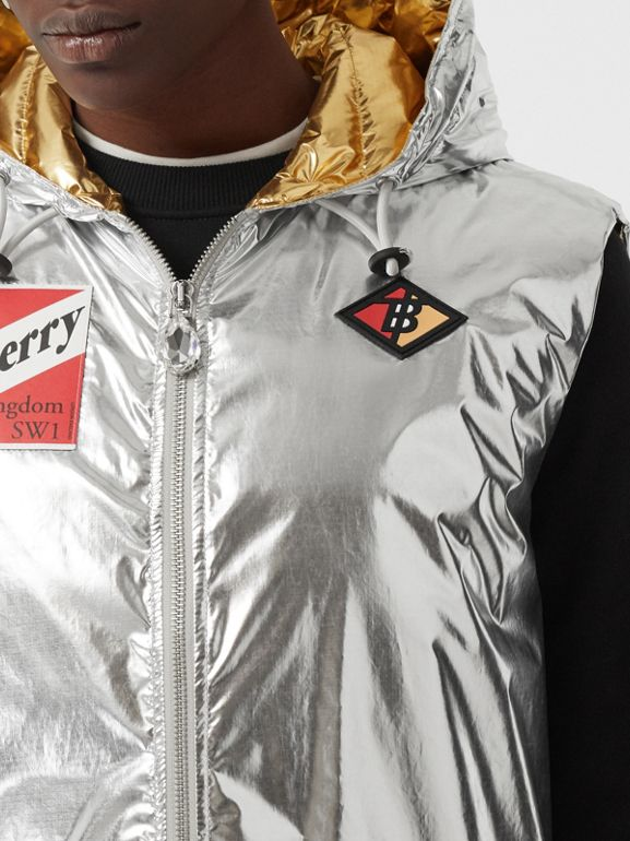 Logo Graphic Metallic Down-filled Gilet in Silver - Women | Burberry United Kingdom - cell image 1