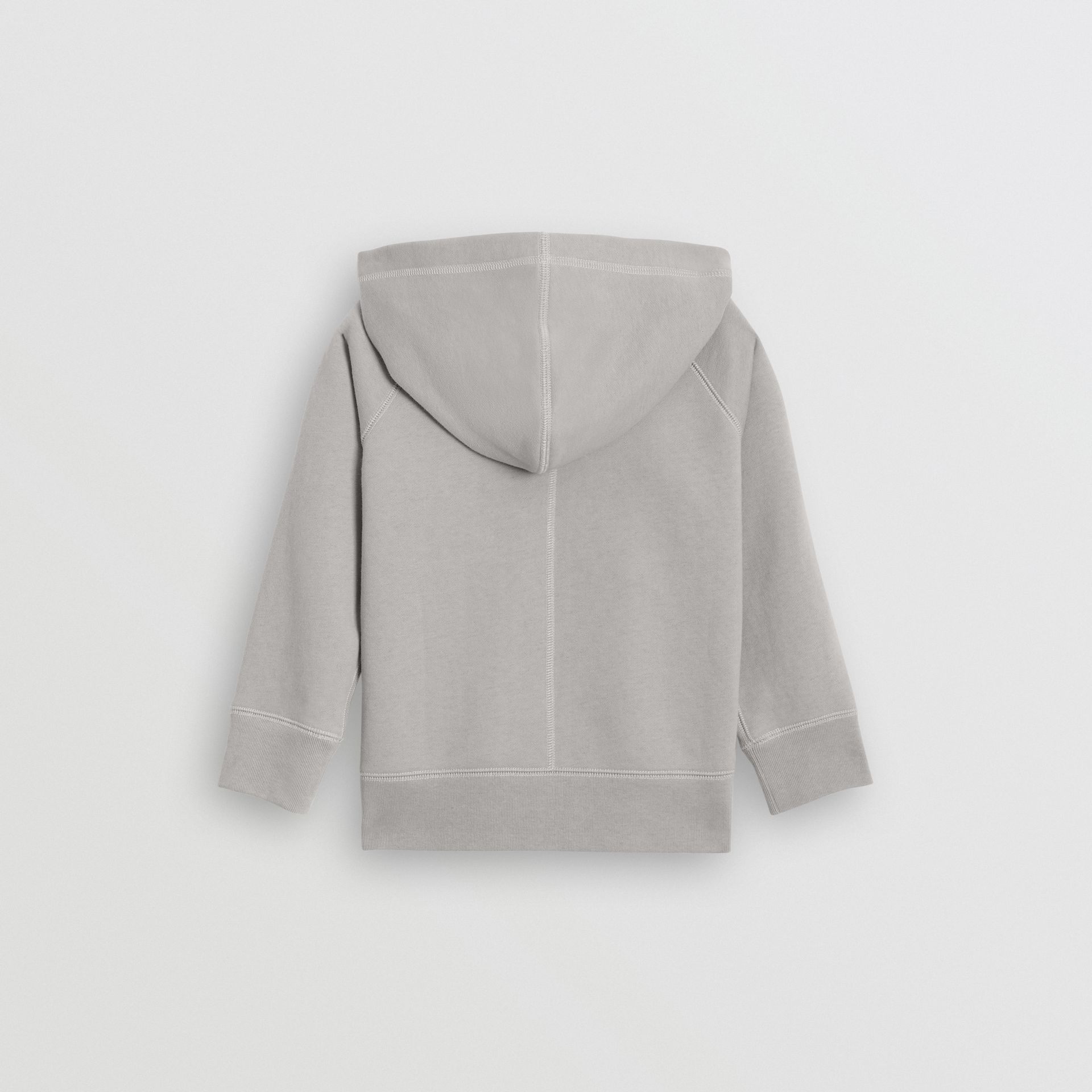 Cotton Jersey Hooded Top in Chalk Grey Melange | Burberry Australia - gallery image 3