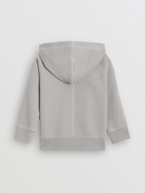 Cotton Jersey Hooded Top in Chalk Grey Melange | Burberry Australia - cell image 3