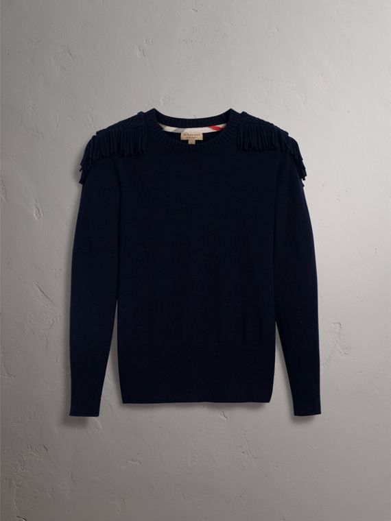 Military Braid Detail Wool Cashmere Sweater in Navy - Women | Burberry - cell image 3
