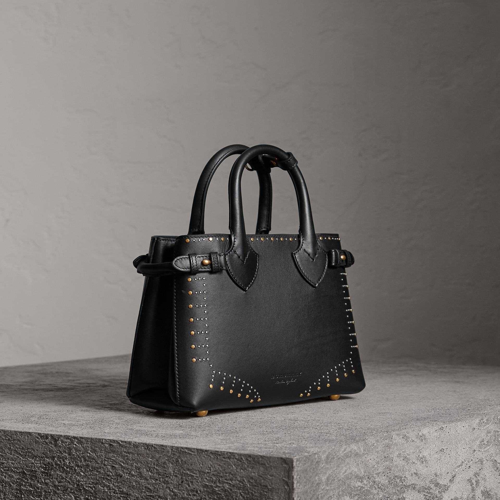 The Small Banner in Riveted Leather in Black - Women | Burberry - gallery image 0