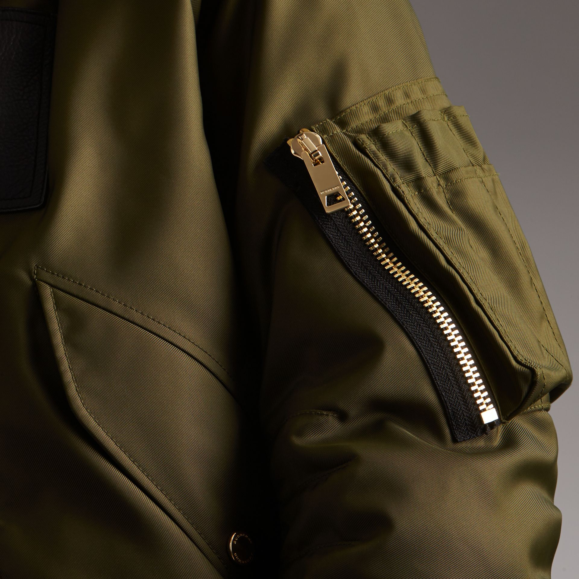 Raccoon Fur and Shearling Hood Duck-down Jacket in Caper Green - Men | Burberry - gallery image 5