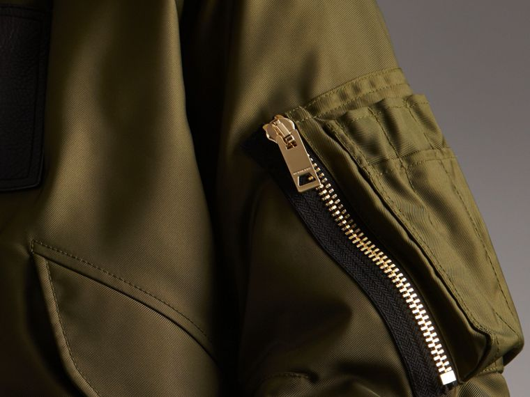 Raccoon Fur and Shearling Hood Duck-down Jacket in Caper Green - Men | Burberry - cell image 4