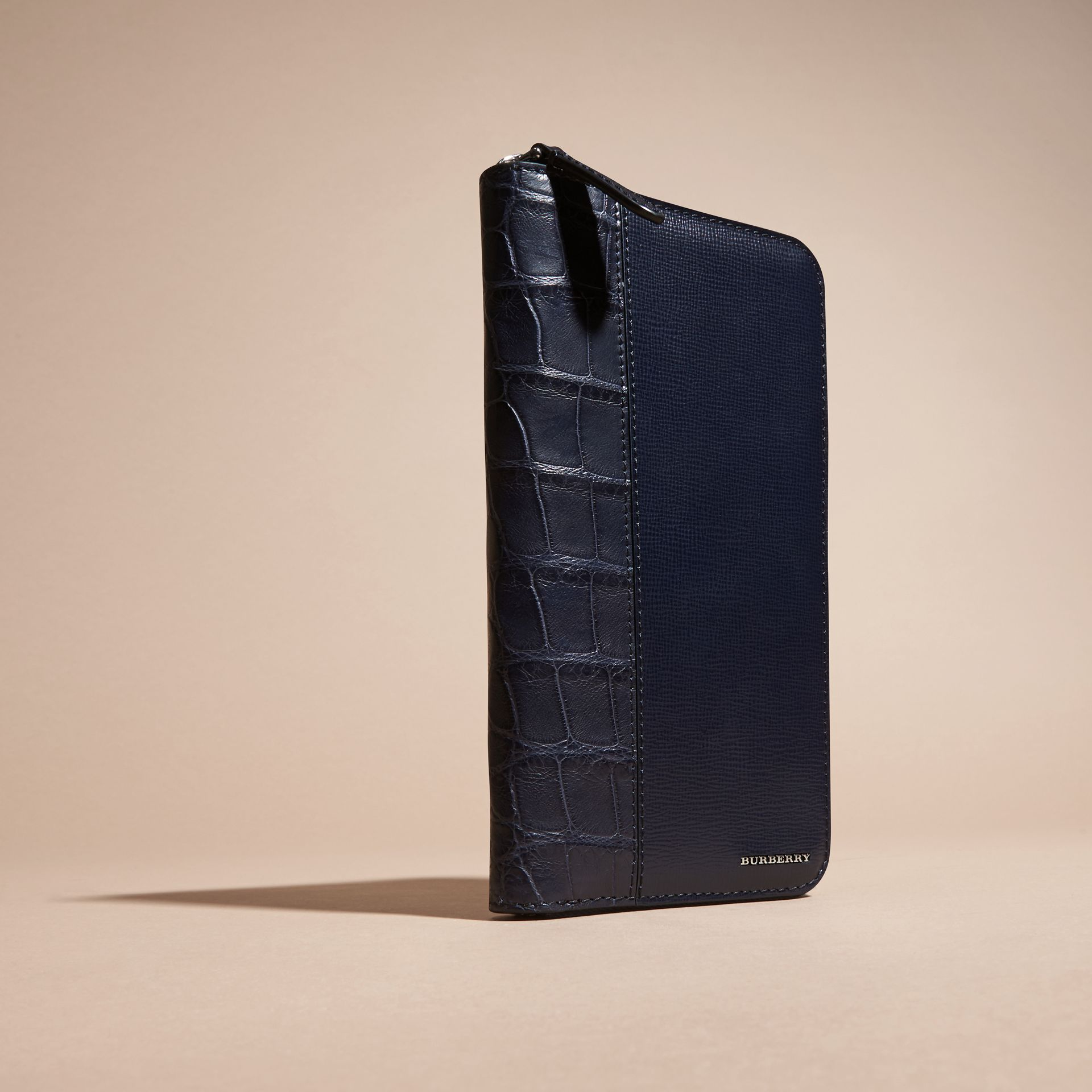 London Leather and Alligator Ziparound Wallet in Dark Navy - gallery image 3