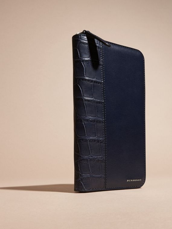 London Leather and Alligator Ziparound Wallet in Dark Navy - cell image 2