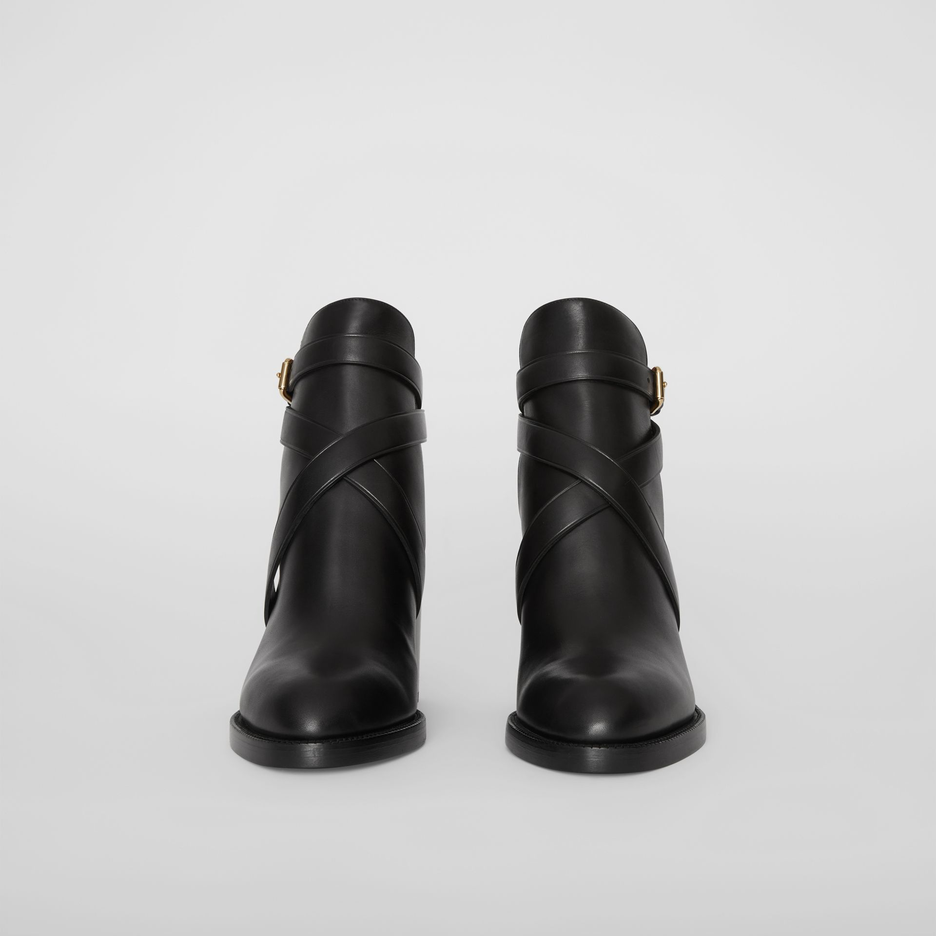 Bottines en cuir et coton House check (Noir) - Femme | Burberry - photo de la galerie 2