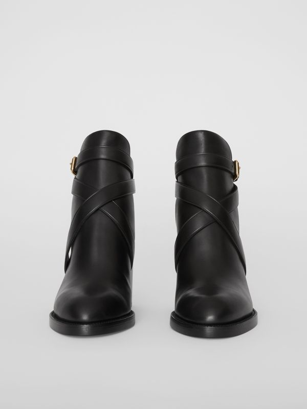 Bottines en cuir et coton House check (Noir) - Femme | Burberry - cell image 2