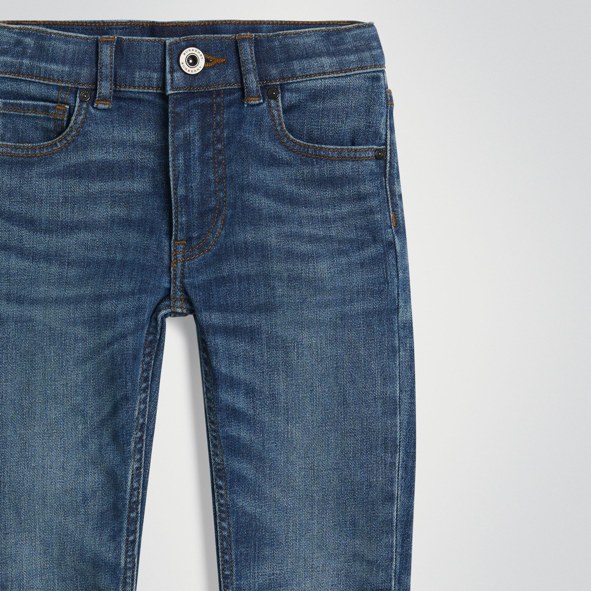 Skinny Fit Stretch Jeans in Mid Indigo | Burberry United Kingdom - gallery image 4
