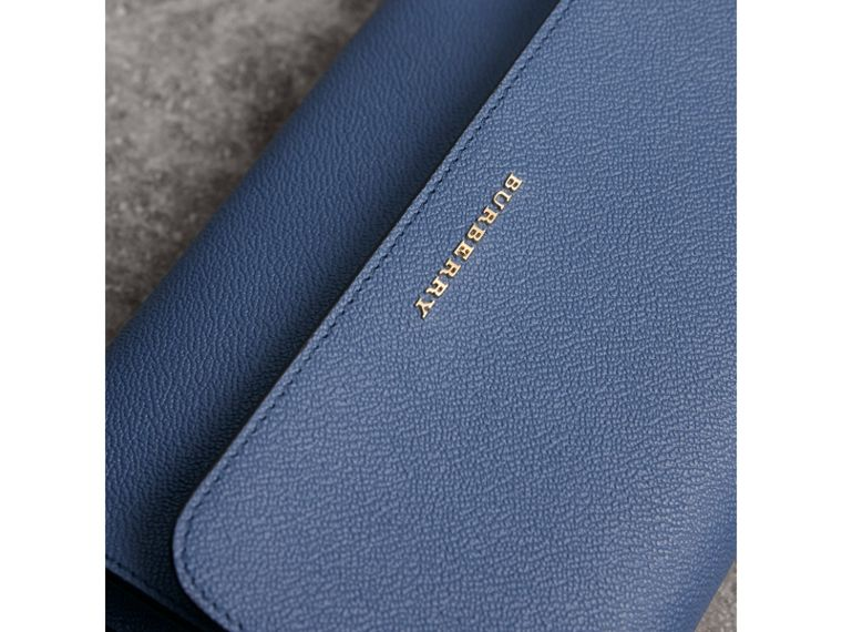 Grainy Leather Crossbody Bag in Steel Blue - Women | Burberry - cell image 1