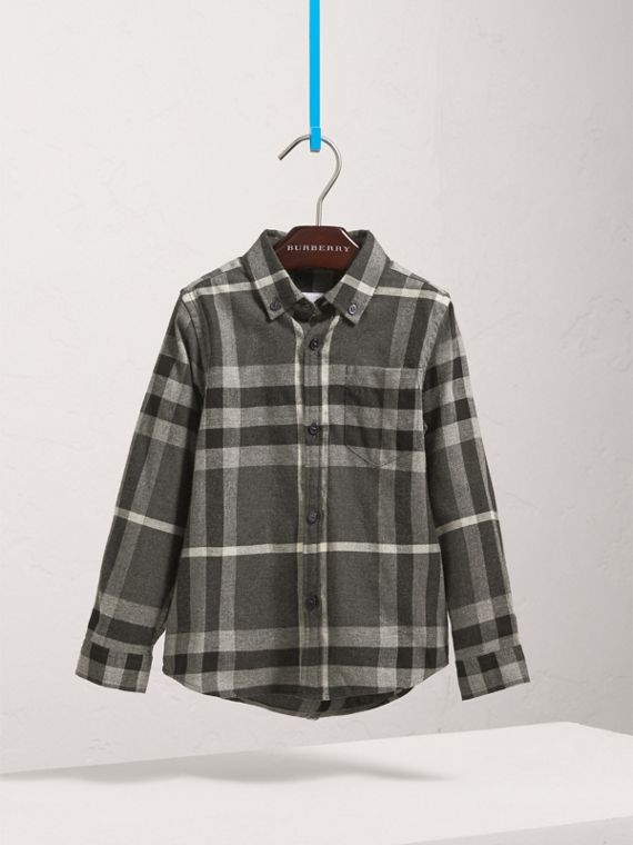 Check Cotton Flannel Button-Down Shirt in Dark Grey Melange - Boy | Burberry - cell image 2