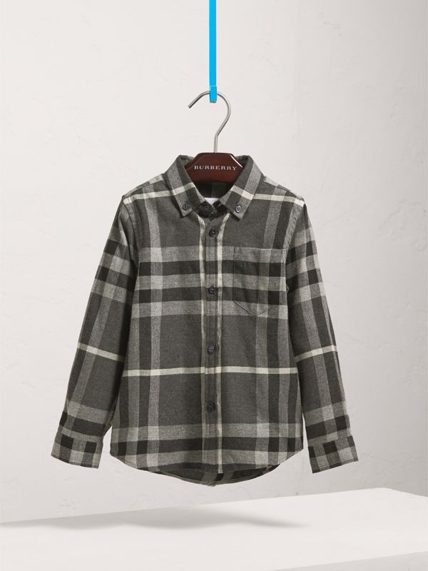 Check Cotton Flannel Button-Down Shirt in Dark Grey Melange - Boy | Burberry United States - cell image 2