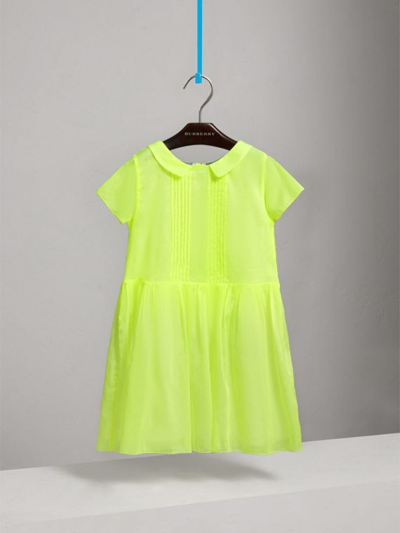 Pintuck Detail Cotton Voile Dress in Neon Yellow - Girl | Burberry - cell image 2