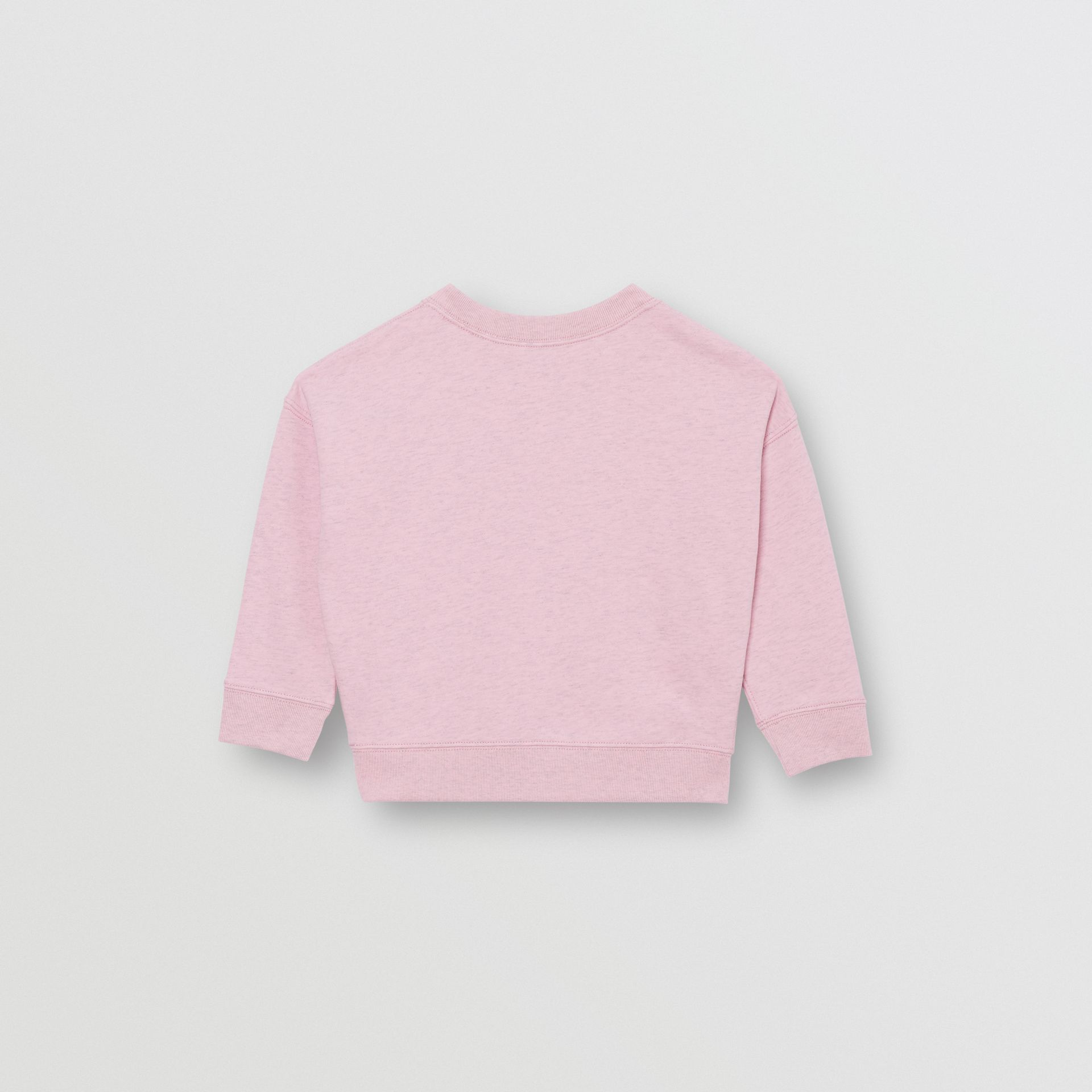 Logo Detail Cotton Sweatshirt in Pale Neon Pink - Girl | Burberry - gallery image 3