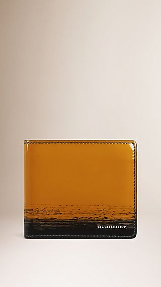 Striped Patent Leather Folding Wallet
