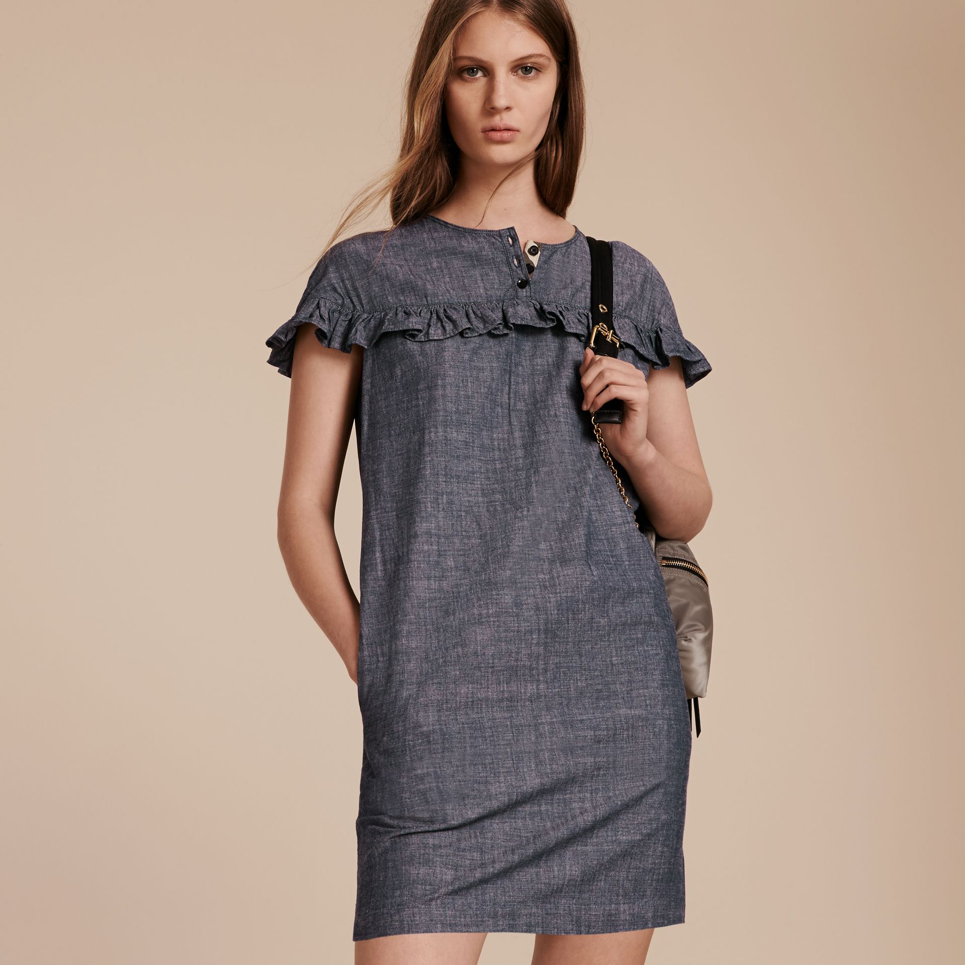 Light indigo Ruffle Trim Cotton Chambray Shift Dress - gallery image 6