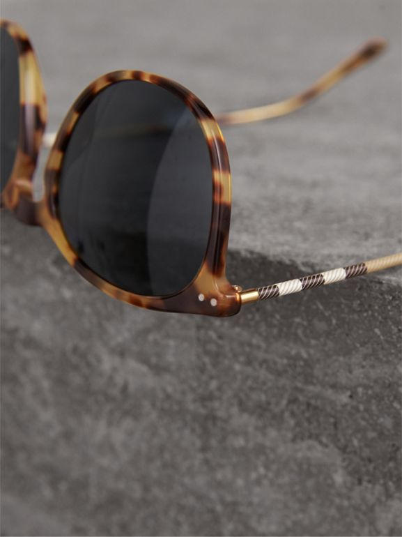 Check Detail Round Frame Sunglasses in Dark Brown - Men | Burberry United Kingdom - cell image 1