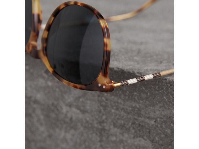 Check Detail Round Frame Sunglasses in Dark Brown - Men | Burberry Singapore - cell image 1