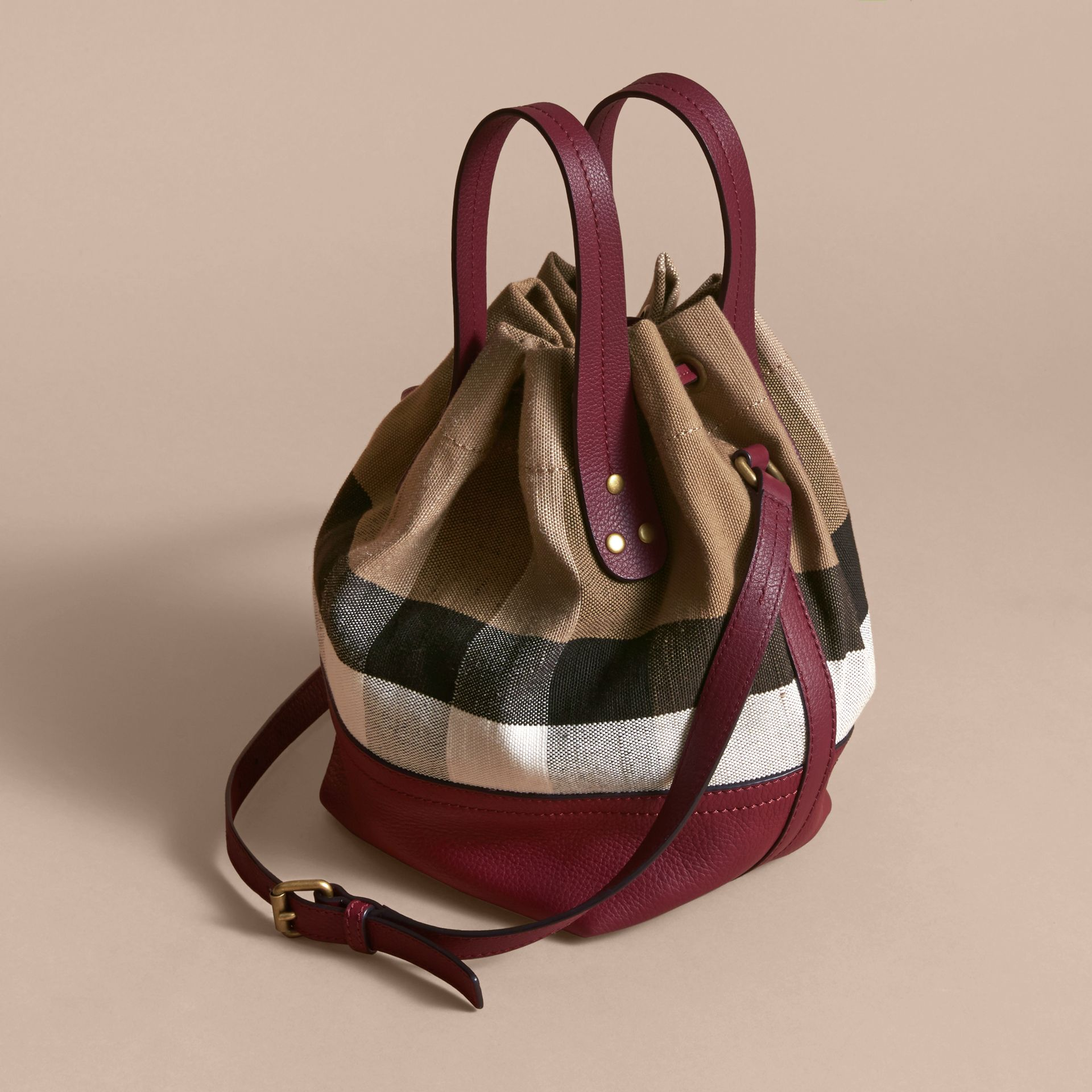 Small Canvas Check and Leather Bucket Bag in Burgundy Red - Women | Burberry Singapore - gallery image 5