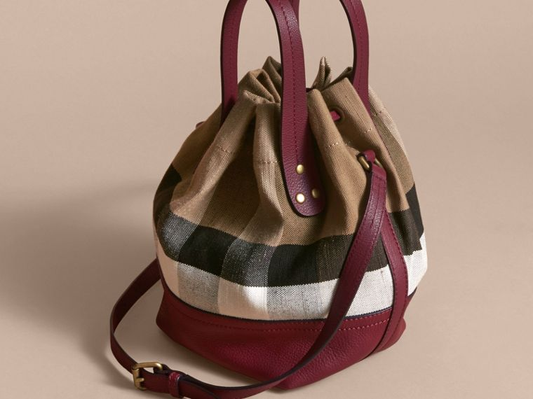 Small Canvas Check and Leather Bucket Bag in Burgundy Red - Women | Burberry Singapore - cell image 4
