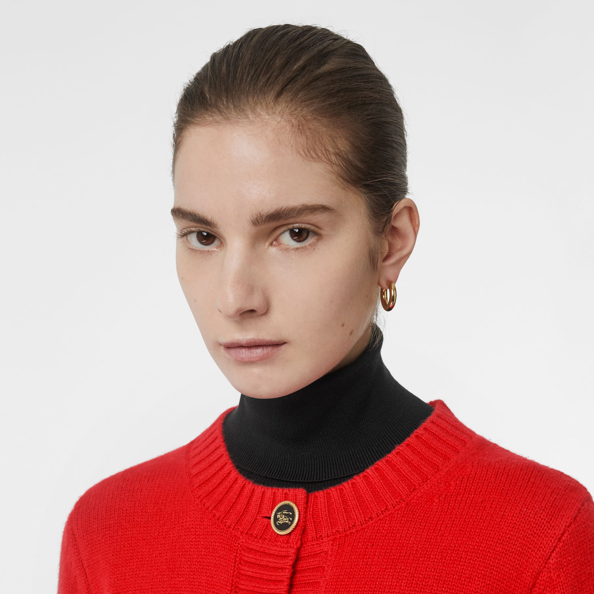 Logo Button Cashmere Crew Neck Cardigan in Bright Red - Women | Burberry - gallery image 1