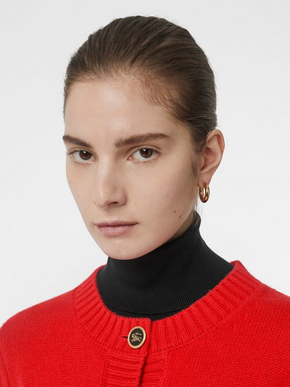 Logo Button Cashmere Crew Neck Cardigan in Bright Red - Women | Burberry Australia - cell image 1