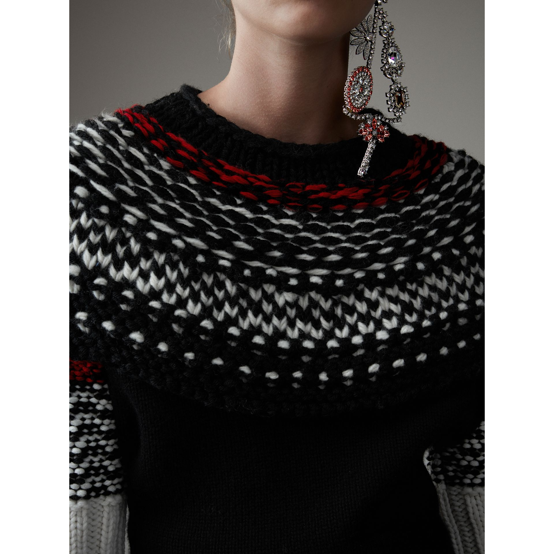 Hand-knitted Yoke Cashmere Wool Sweater in Black - Women | Burberry Hong Kong - gallery image 2