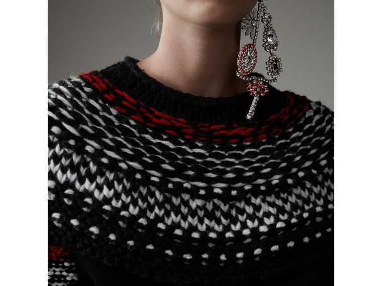 Hand-knitted Yoke Cashmere Wool Sweater in Black - Women | Burberry Hong Kong - cell image 1