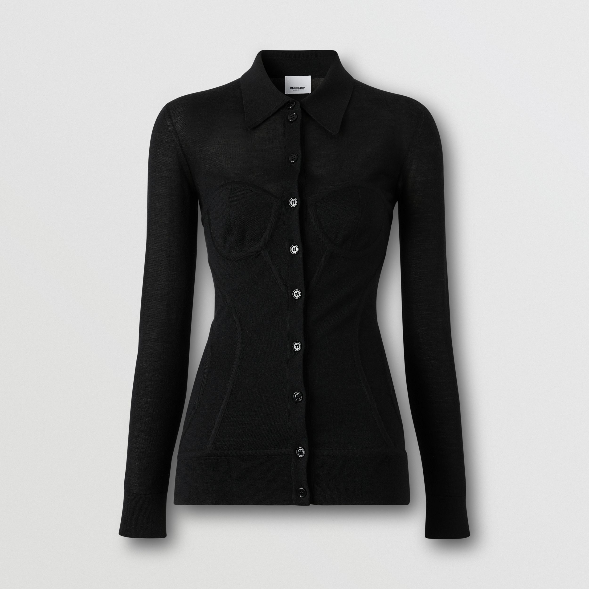 Corset Detail Knit Cashmere Silk Cardigan in Black - Women | Burberry - 4