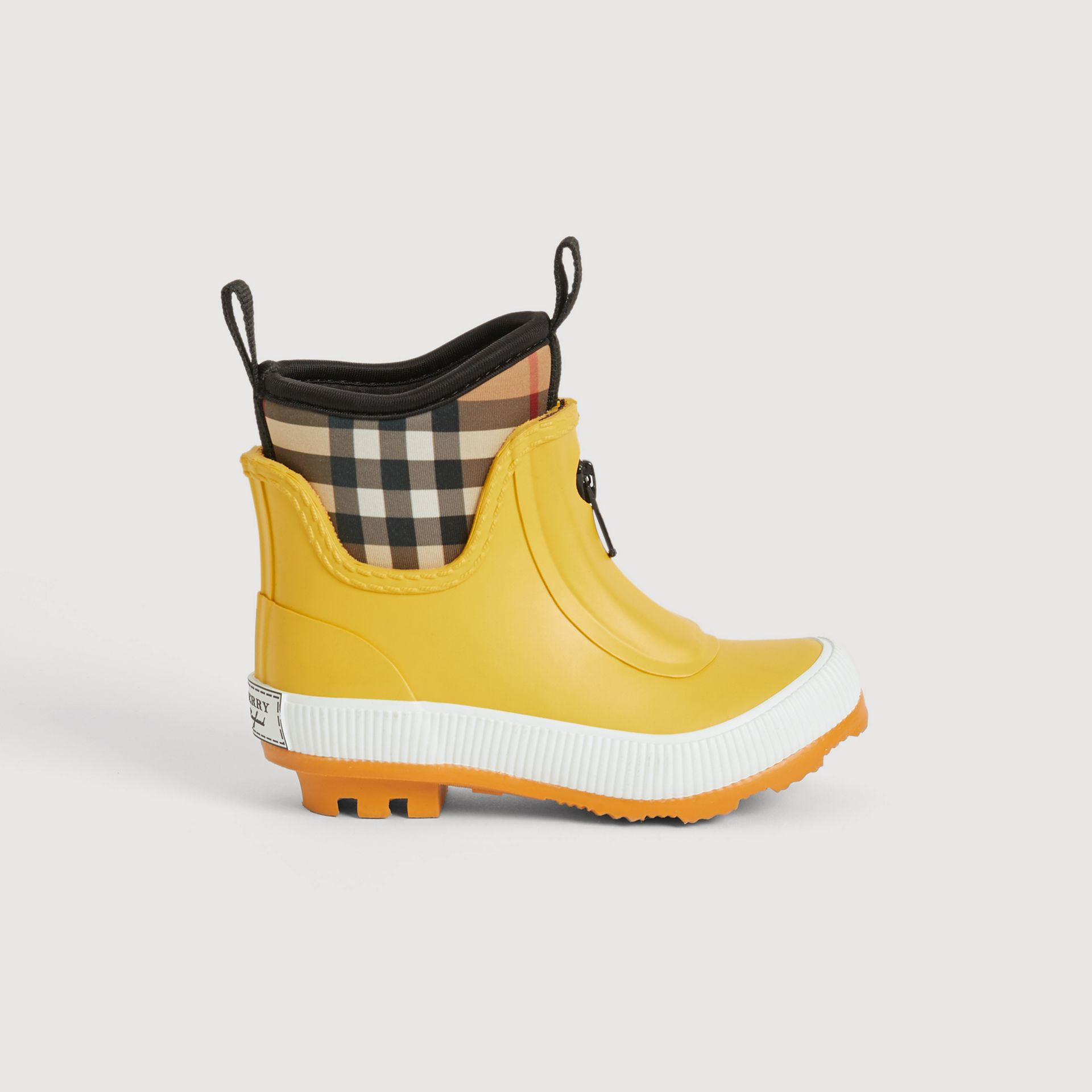 Vintage Check Neoprene and Rubber Rain Boots in Vibrant Lemon | Burberry Australia - gallery image 3